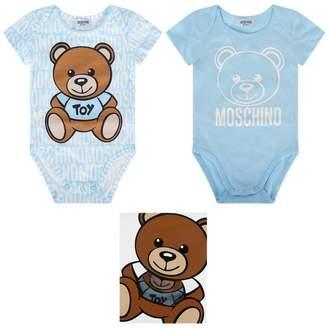Moschino Boys Blue Teddy Bodysuits Gift Set (2 Piece)