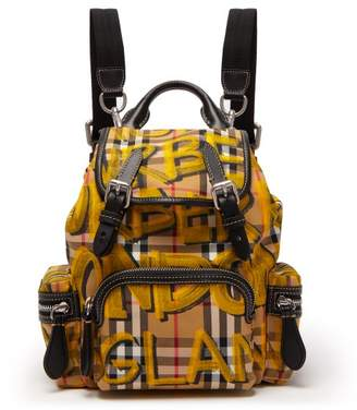 Burberry Small Graffiti And Vintage Check Print Backpack - Womens - Brown Multi