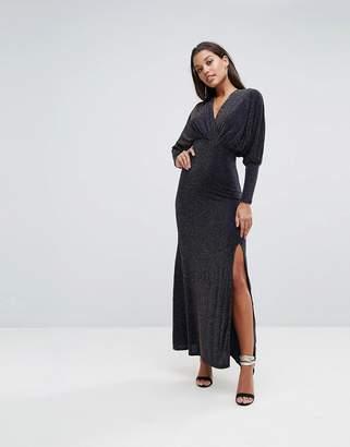 Club L Plunge Neck Wrap Front Glitter Maxi Dress
