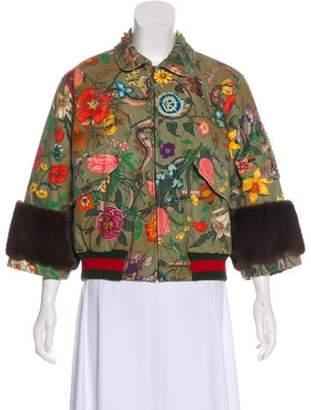 Gucci 2017 Mink-Trim Flora Snake Jacket Olive 2017 Mink-Trim Flora Snake Jacket
