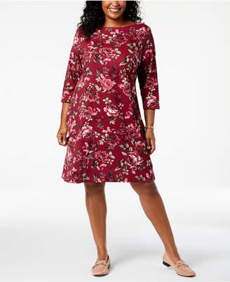 Karen Scott Plus Size Printed Boat-Neck Dress, Created for Macy's