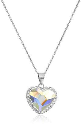 Swarovski Sterling Silver Elements Two Tone Heart Pendant Necklace
