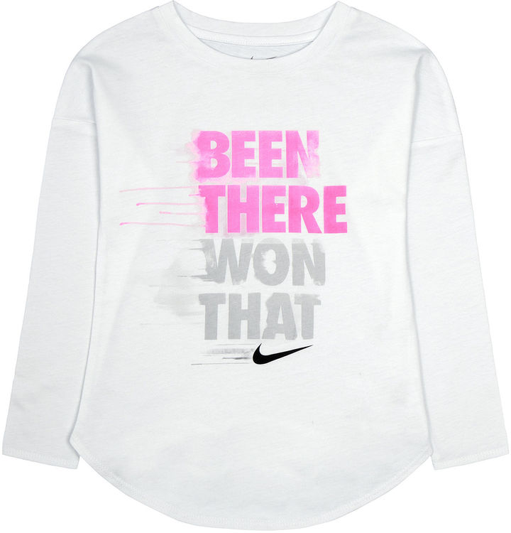 Nike Long-Sleeve Been There Won That Tee - Preschool Girls 4-6x