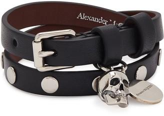 Black Studded Leather Wrap Bracelet