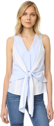 Derek Lam 10 Crosby Sleeveless Tie Front Top $350 thestylecure.com