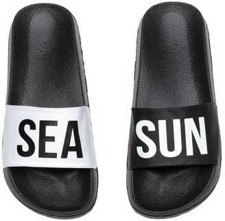 Pool Sandals with Printed Text