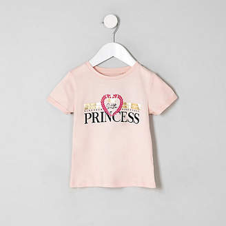 River Island Mini girls Pink 'Little princess' T-shirt