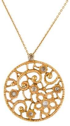 Farah Tanya 18K Diamond Floral Openwork Pendant Necklace
