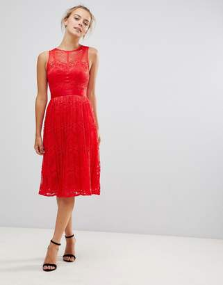 Little Mistress Lace Bridesmaid Midi Dress