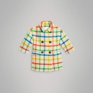 Burberry Check Wool Twill Tailored Coat , Size: 14Y, Yellow