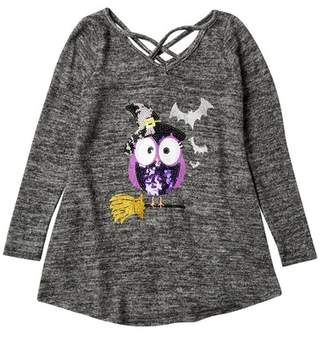 Poof Sequin Witch Owl Criss Cross Neck Top (Big Girls)
