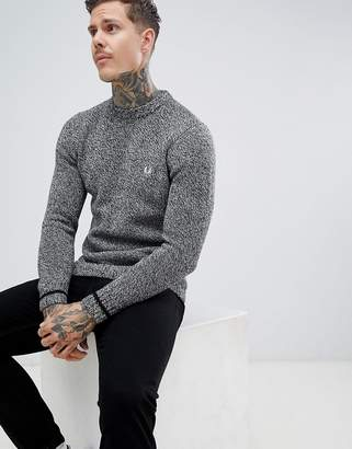 Fred Perry fleck yarn knitted crew neck sweater in gray