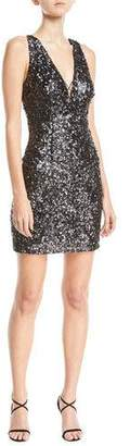Aidan Mattox Textured Sequin V-Neck Mini Cocktail Dress