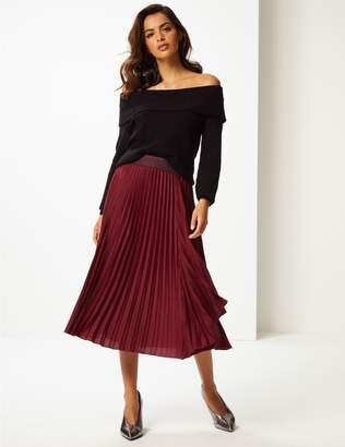 Marks and Spencer Satin Pleated Midi Skirt