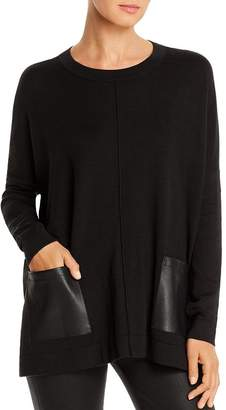 Donna Karan Faux-Leather Pocket Sweater