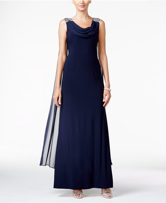 Jessica Howard Embellished Cowl-Neck A-Line Gown $139 thestylecure.com