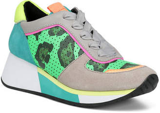 Donald J Pliner Prea Printed Leather Wedge Sneakers