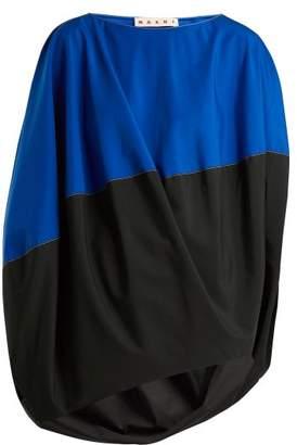 Marni Boat Neck Slit Sleeved Asymmetric Top - Womens - Blue Multi