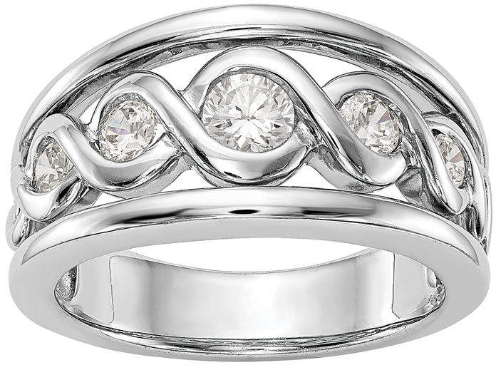 MODERN BRIDE Womens 1/2 CT. T.W. White Diamond 14K Gold Wedding Band