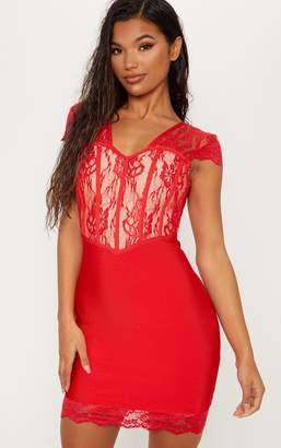 PrettyLittleThing Red Bandage Lace Insert Bodycon Dress