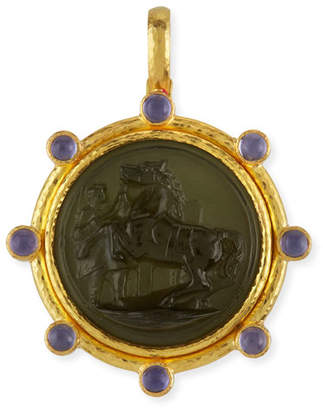 Elizabeth Locke Ancient Horse 19k Gold Intaglio Pendant, Smoke