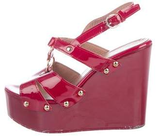 RED Valentino Patent Leather Wedge Sandals