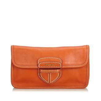 Prada Orange Leather Clutch Bag