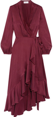 Zimmermann - Asymmetric Washed-silk Wrap Midi Dress - Burgundy