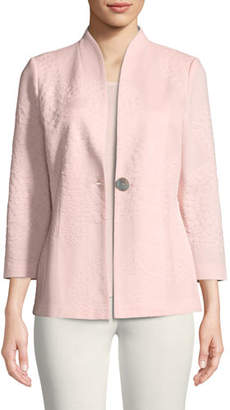 Misook Textured One-Button Jacket, Petite