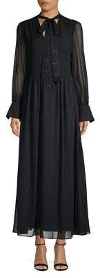 Ellen Tracy x Irina Shayk Buttoned Tie-Neck Maxi Dress
