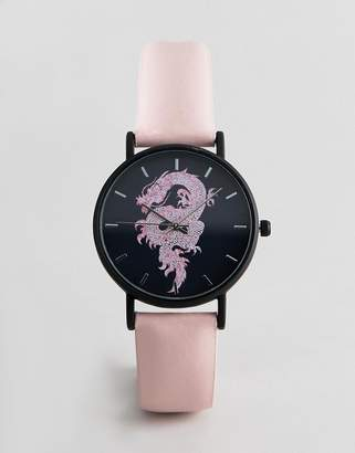 Dragon Optical ASOS DESIGN watch with design in pink and black