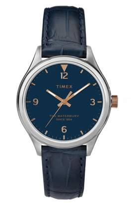 Timex R Waterbury Leather Strap Watch, 34mm