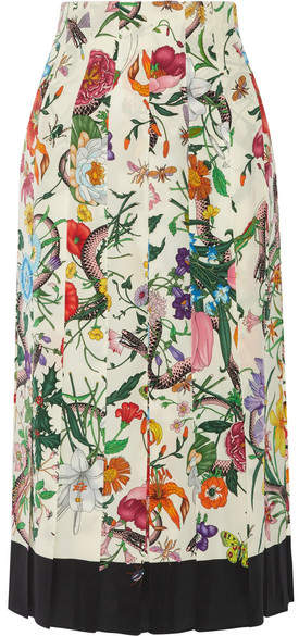 Gucci - Pleated Floral-print Silk Crepe De Chine Midi Skirt - Cream