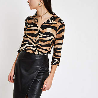 River Island Womens Brown zebra print oversized button-up shirt