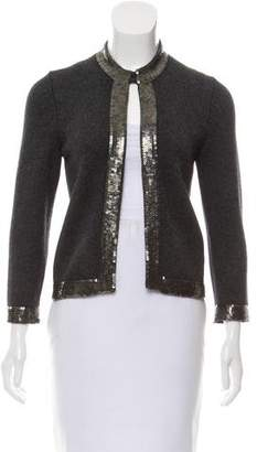 Rena Lange Embellished Wool-Blend Cardigan