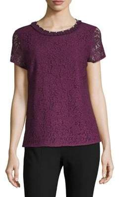 Karl Lagerfeld Paris Lace Faux Pearl-Embellished Top