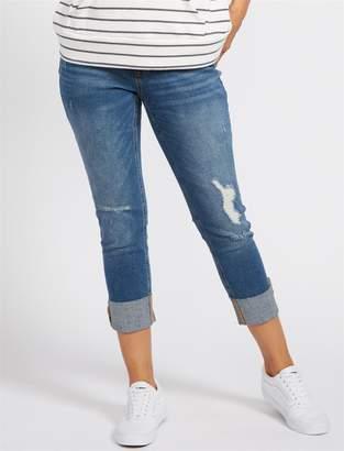 Motherhood Maternity BOUNCEBACK Destructed Post Pregnancy Cropped Jeans