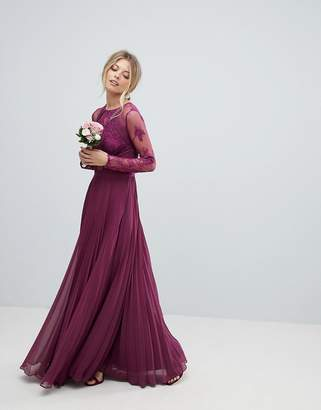 Asos Design Bridesmaid Maxi Dress With Lace Sleeves And Eyelash Lace