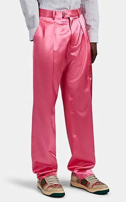 Gucci Men's Washed Satin Wide-Leg Trousers - Pink