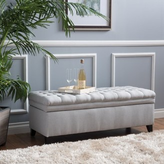 Noble House Jackson Fabric Light Gray Storage Ottoman