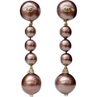 Chanel Vintage Brown Metal Earrings