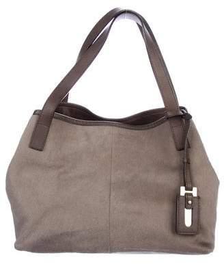 Max Mara Leather-Trimmed Ponyhair Bag
