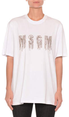 MSGM Logo Chains Cotton Crewneck Tee