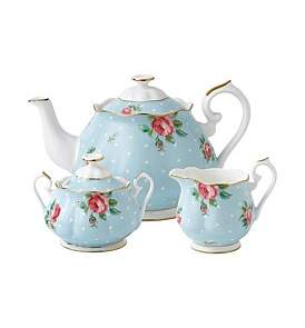 Royal Albert Polka Blue Teapot/Sugar/Creamer Set