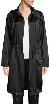 Elie Tahari Kendra Hooded Satin Coat