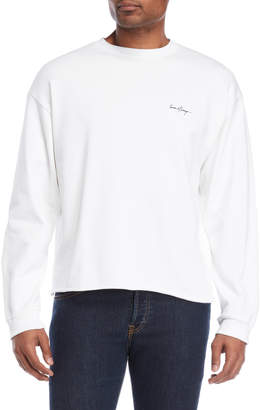 Second/Layer White Cropped Script Logo Pullover