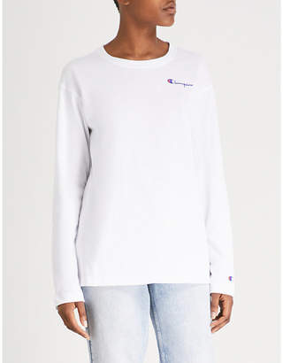 Champion Logo-embroidered cotton-jersey long-sleeved T-shirt