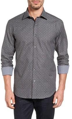 Men's Bugatchi Shaped Fit Diamond Stripe Jacquard Sport Shirt $179 thestylecure.com