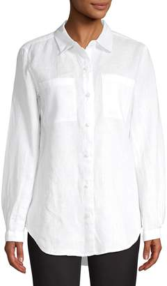 Lord & Taylor Petite Long-Sleeve Linen Button-Down Shirt
