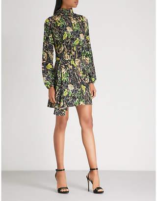 Prada Rose-print silk-crepe dress